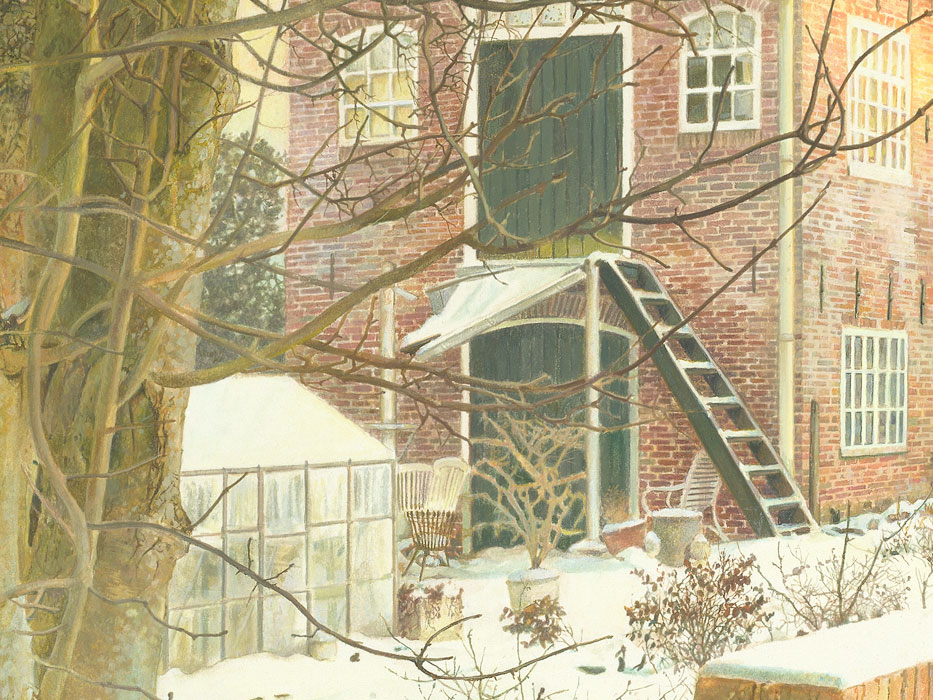 Paul Christiaan Bos: detail aquarel Wintertuin